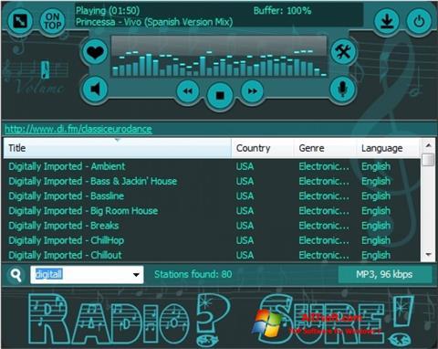 स्क्रीनशॉट RadioSure Windows 7