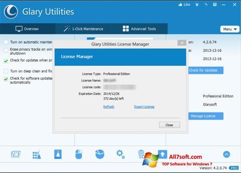 स्क्रीनशॉट Glary Utilities Windows 7