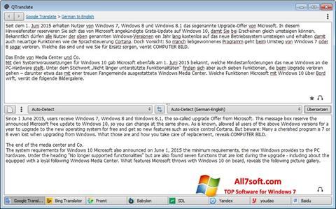 स्क्रीनशॉट QTranslate Windows 7