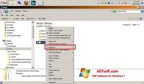 स्क्रीनशॉट MagicISO Windows 7