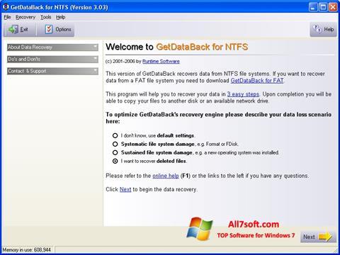 स्क्रीनशॉट GetDataBack Windows 7