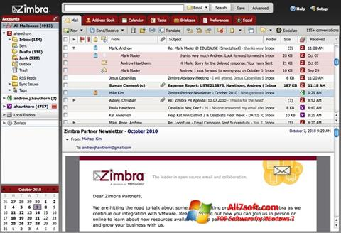 स्क्रीनशॉट Zimbra Desktop Windows 7