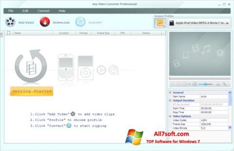 स्क्रीनशॉट Any Video Converter Windows 7