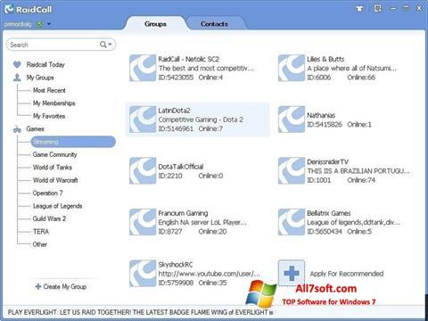 स्क्रीनशॉट RaidCall Windows 7