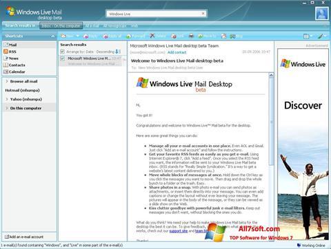 स्क्रीनशॉट Windows Live Mail Windows 7