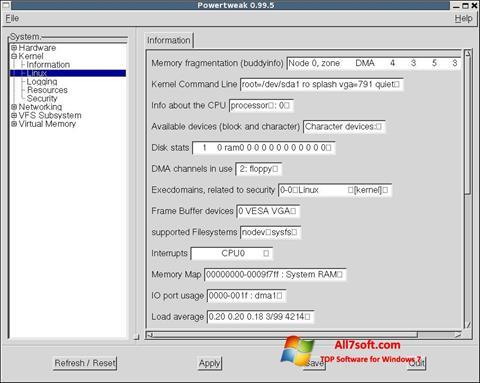 स्क्रीनशॉट PowerTweak Windows 7