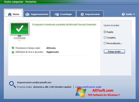स्क्रीनशॉट Microsoft Security Essentials Windows 7