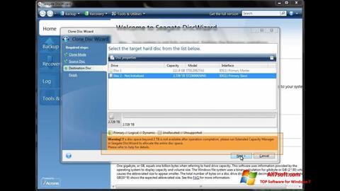 स्क्रीनशॉट Seagate DiscWizard Windows 7