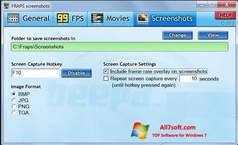 स्क्रीनशॉट Fraps Windows 7