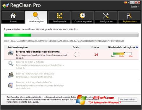 स्क्रीनशॉट RegClean Pro Windows 7