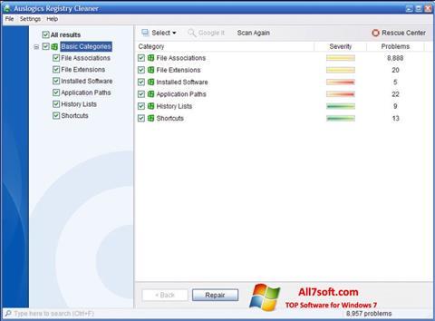 स्क्रीनशॉट Auslogics Registry Cleaner Windows 7