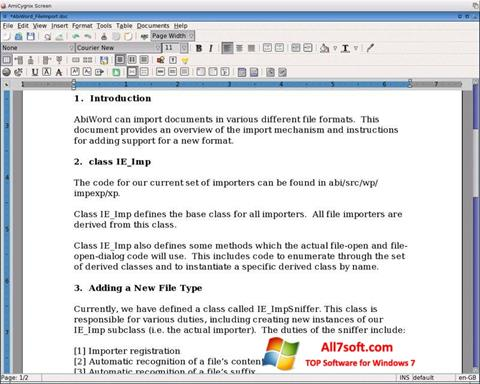 स्क्रीनशॉट AbiWord Windows 7