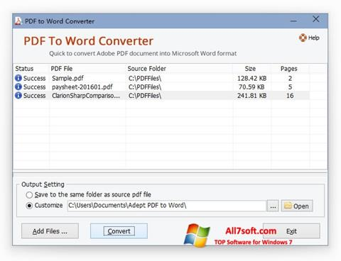 स्क्रीनशॉट PDF to Word Converter Windows 7