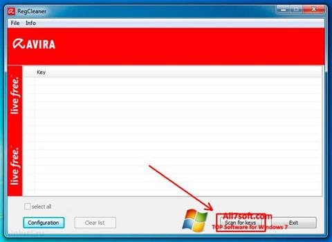 स्क्रीनशॉट Avira Registry Cleaner Windows 7