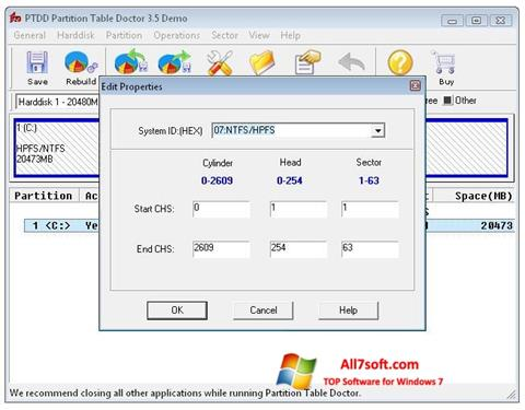 स्क्रीनशॉट Partition Table Doctor Windows 7
