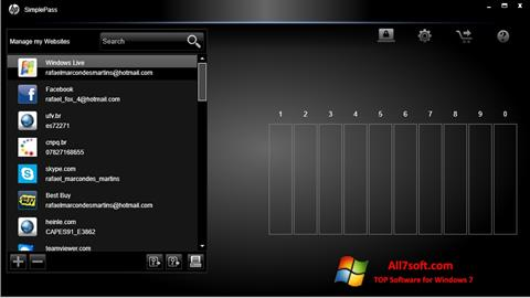 स्क्रीनशॉट HP SimplePass Windows 7