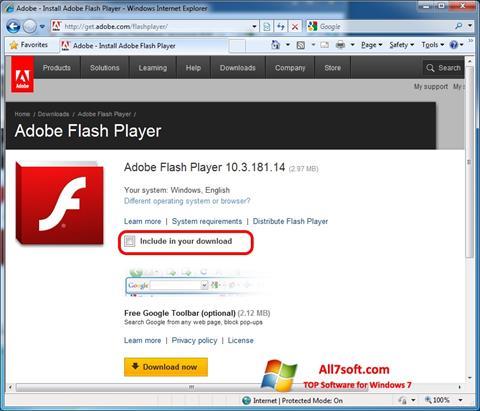 स्क्रीनशॉट Adobe Flash Player Windows 7