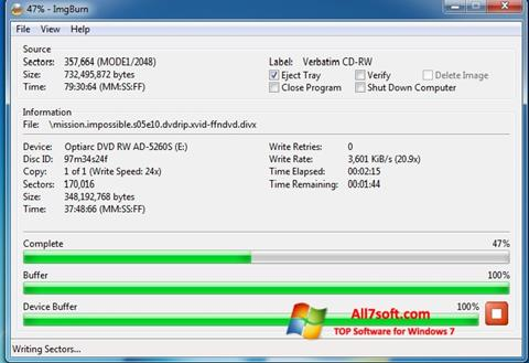 स्क्रीनशॉट ImgBurn Windows 7