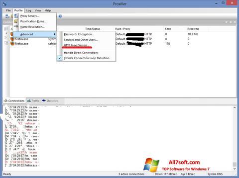 स्क्रीनशॉट Proxifier Windows 7