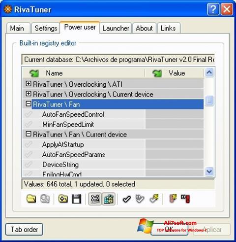 स्क्रीनशॉट RivaTuner Windows 7