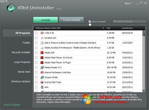 स्क्रीनशॉट IObit Uninstaller Windows 7