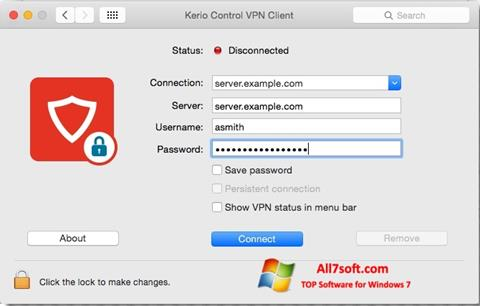 स्क्रीनशॉट Kerio VPN Client Windows 7