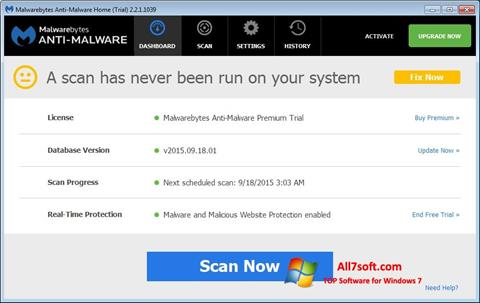 स्क्रीनशॉट Malwarebytes Anti-Malware Free Windows 7