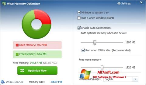 स्क्रीनशॉट Wise Memory Optimizer Windows 7