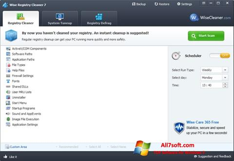 स्क्रीनशॉट Wise Registry Cleaner Windows 7