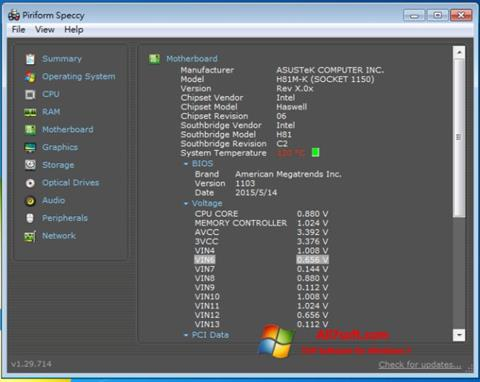 स्क्रीनशॉट Speccy Windows 7
