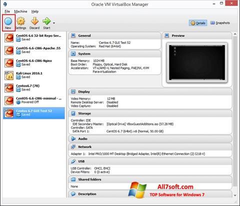 स्क्रीनशॉट VirtualBox Windows 7