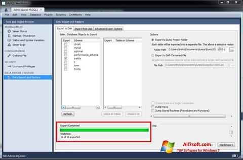 स्क्रीनशॉट MySQL Workbench Windows 7