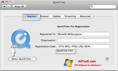 स्क्रीनशॉट QuickTime Pro Windows 7