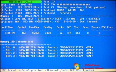 स्क्रीनशॉट MemTest Windows 7