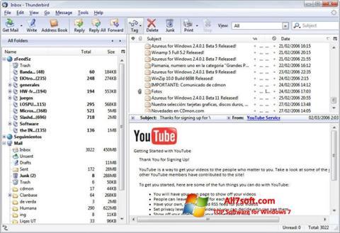स्क्रीनशॉट Mozilla Thunderbird Windows 7