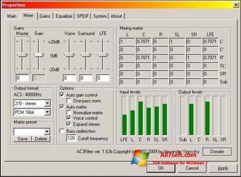 स्क्रीनशॉट AC3 Codec Windows 7