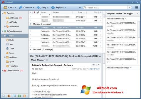 स्क्रीनशॉट FoxMail Windows 7