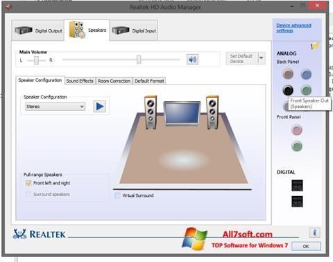 स्क्रीनशॉट Realtek HD Audio Windows 7