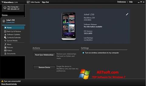 स्क्रीनशॉट BlackBerry Link Windows 7
