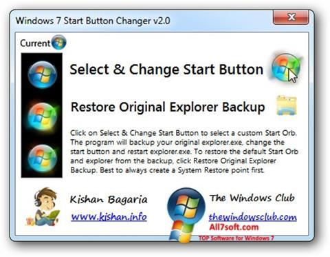स्क्रीनशॉट Windows 7 Start Button Changer Windows 7